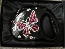 Flexi Butterfly Luxury Retractable Tape Dog-Leash with swarovski Crystals