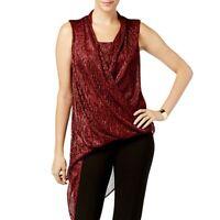ALFANI NEW Women's Asymmetrical-hem Faux-wrap Tunic Shirt Top TEDO