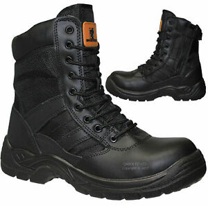 MENS ARMY MILITARY POLICE SAFETY BOOTS STEEL TOE CAP COMBAT WORK WOMENS SHOES SZ