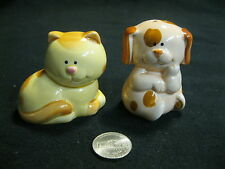Sitting Laying Country Dog Cat Salt and Pepper Shakers Ceramic Josef         73