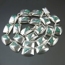 Vintage Mexican Modernist Malachite Sterling Silver Necklace Mexico Taxco