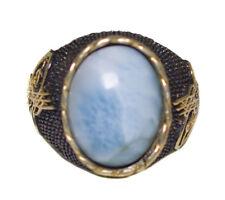 925 Sterling Silver Mens Uniqe Unique perfect Ring, Larimar  natural gemstone