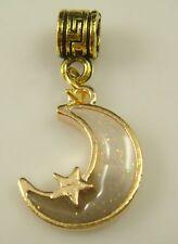 18K gilded European moon Charm Bead Fit sterling 925 Necklace Bracelet w27