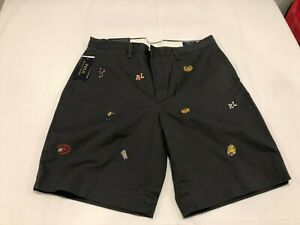 NWT $69.99 Polo Ralph Lauren Mens Football Stretch Classic Shorts Black Size 38