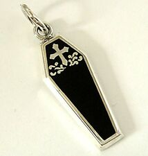Sterling 925 Silver Pendant Gothic Coffin Cross Solid