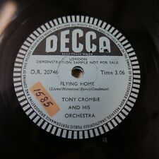 78rpm TONY CROMBIE flying home , single sided sample disc