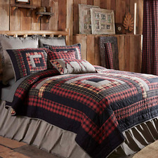 Good CUMBERLAND Luxury King Quilt Log Cabin Block Lodge Woodland Plaid Hunting  VHC