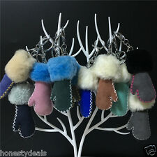 Colorful Real Leather Sheepskin Small Mini Gloves Mitten Bag Charm Car Keyring