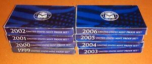 Lot Of 8 USA Mint Proof Sets 1999-2006 With Box & COA