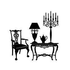 Shabby Chic Wall Stickers Candle Holder Table Kettle Style Art Decal Bedroom