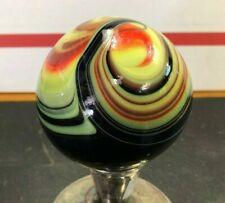"HUGE 3.5"" ART GLASS MULTI COLOR AKRO AGATE MARBLE PAPERWEIGHT SIGNED WELCH"