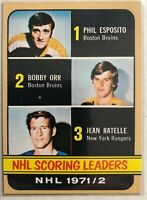 1972-73 Topps Bobby Orr Phil Esposito Jean Ratelle #63 NHL Scoring Leaders
