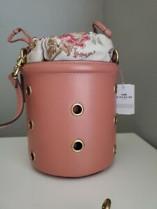 COACH NWT 69654 Drawstring Bucket Bag With Grommets LIGHT PINK Crossbody