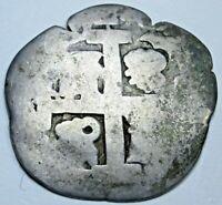 1700's Lima Spanish Peru Silver 1 Reales Old Antique Pirate Treasure Cob Coin