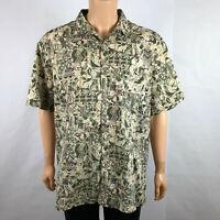 Vintage Tori Richards Aloha Shirt 2XL Hawaiian Leaves Cotton Lawn Tiki Floral