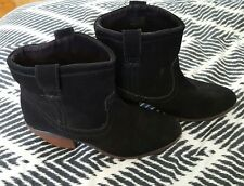 CALL IT SPRING Black Suede Leather Western Ankle Boots Cowgirl Shoes Size 10 US