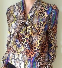 John Zack  Pussybow  Blouse Shirt Top   Leopard Animal Print
