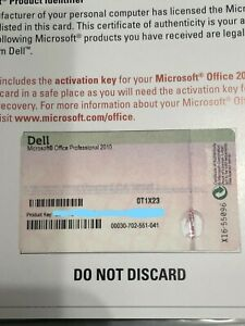 Microsoft Office Professional 2010 Product Activation Key Card ONLY