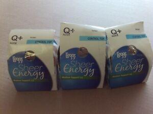 3 PAIR Leggs Sheer Energy PANTHOSE Control Top Medium Support NUDE  Q+ #5