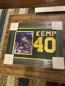 Shawn Kemp Signed Framed Jersey Number Suede Seattle Supersonics
