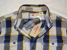 LEVI'S Men's Classic Thick Cotton Long Sleeve Plaid Button Up Shirt Blue Yellow