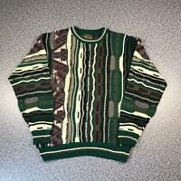 Vintage 90s LE TIGRE Cosby Style Mens Sweater Medium | 3D Knit Jumper