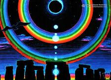 STONEHENGE ECLIPSE Psychedelic Art UV Blacklight Postcard Glow-In-The-Dark Neon