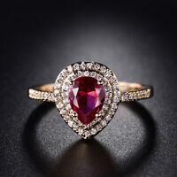 Pear Ruby Red Sapphire 18K Yellow Gold Filled Women Lady Wedding Jewelry Rings