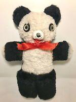 "Antique Rubber Nose Panda Bear Black White VTG Plush Teddy Stuffed Animal 12"""