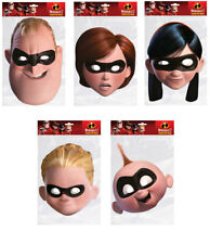 Incredibles 2 Official Set of 5 2D Card Party Face Mask Pack - Parr Family