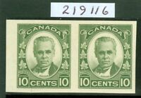 SG 312 Canada 1931. 10c olive green pair, variety-imperforate. Lightly...