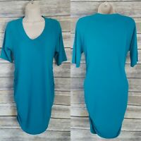 Kimi + Kai Size M Maternity Nursing Dress Teal Blue Ruched V-Neck