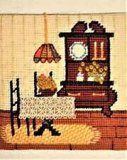 Victorian House Dining Room Floral Finished Completed Vtg Wall Art Needlepoint