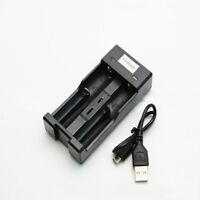 USB Battery Charger 2 Slots for 3.7V 18650 14500 16340 26650 Batteries I9Z