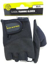 Gold's Gym Black Classic Training Gloves, XS/S, Half Finger, New, Synthetic
