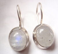Moonstone Wire Back 925 Sterling Silver Dangle Oval Earrings Corona Sun 692a