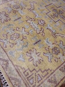 Turkish Oushak Area Rug 3 X 5 Wool Hand Knotted New Woven A+ Light Gold