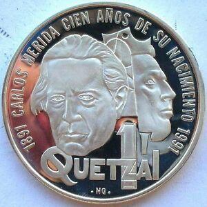 Guatemala 1992 Carlos Merida Quetzal Silver Coin,Proof