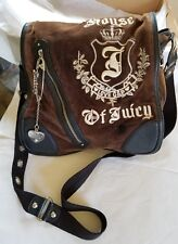 juicy couture vintage velvet leather trim cross body messenger bag