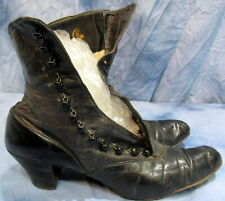 Women'S Antique Vintage Black Leather Button Up Boots Foster Co. Victorian