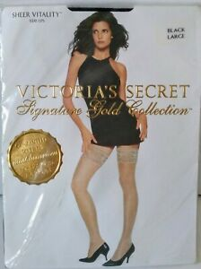 Victoria's Secret Signature Gold Collection Sheer Seduction Stay Ups Black Large