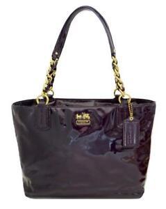 New NWT Coach Madison Aubergine Purple Burgundy Patent Leather Tote Purse 20484