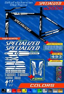 SPECIALIZED bike stickers, ALL COLORS AVAILABLE,  bike frame sticker set + fork