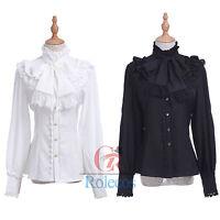 Medieval Renaissance Gothic Lolita Palace Flared Blouses Shirt Tops White/Black