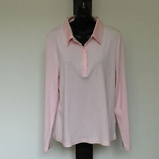 'RODNEY CLARK' EC 'L' PINK LONG SLEEVE TOP WITH SATIN TRIM & STUD FRONT OPENING