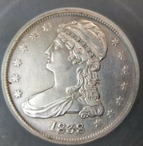 BEAUTIFUL 1838 Capped Bust Half Dollar REEDED Edge AU++ Details.