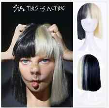 Cosplay Fashion sia Wig Black Blonde Mix Heat Resistant Hair Short Straight Wig*