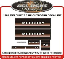 1984  MERCURY 7.5 hp  Outboard decal set   reproductions  9.8 HP