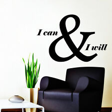 Quote Wall Decals I Can And I Will Decal Motivation Vinyl Stickers Decor NA315