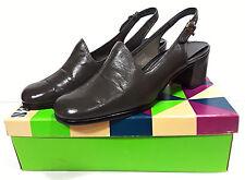 Vtg FANFARES Grey Dress Shoes in Box Womens Sz 8.5M Slingback Heels Pumps BLISS